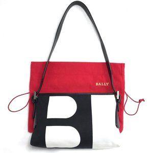 New Auc Bally BLogo canvas/leather Shoulder bag